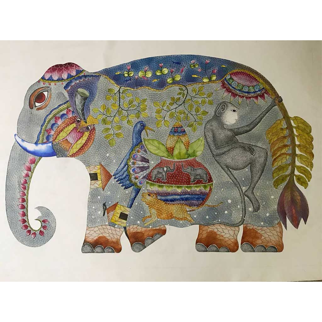 Painting of an elephant by Gond artist Venkat Shyam