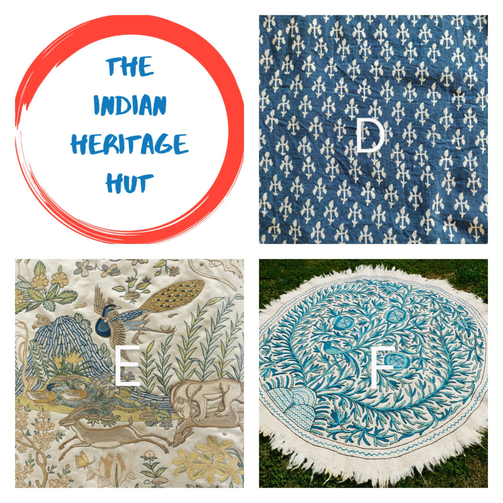Textile tour of India, D for Dabu, E for Embroidery, F for Felted Rugs