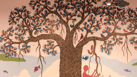 Gond mural painted by Venkat Shyam, Lado bai and their families at Flipkart