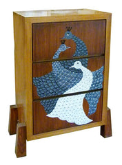 Chest of drawers with a Gond peacock motif