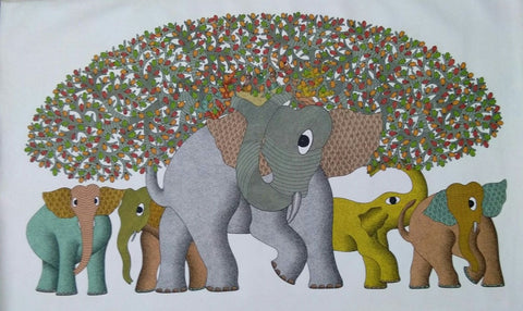 Herd of Elephants, Gond painting by Santosh Maravi, Gond Artist