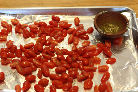 Cherry tomatoes and Za'atar before roasting
