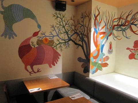 Part of Bhajju Shyam's Gond mural at a restaurant in London