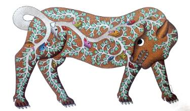 Tiger and the forest, Gond painting by Santosh Maravi, Gond Artist, available at Saatchi Art