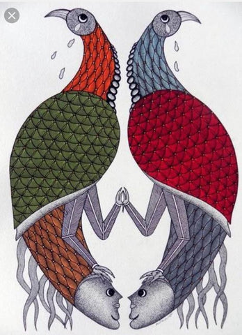 Bird and fish, Gond painting by Santosh Maravi, Gond Artist