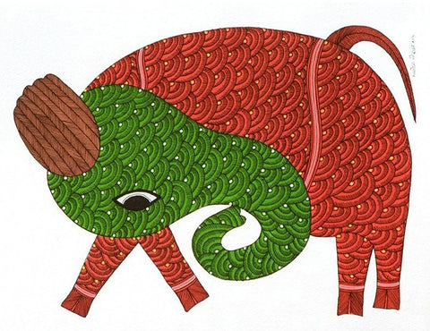 Gond Painting, Elephant - Culture Art, Artist - Manoj Tekam.
