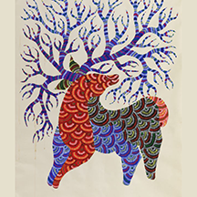 Deer/Antler Gond painting by Deer/Antler by Jangarh Singh Shyam, Gond Artist, Image Credit: Foundation Cartier