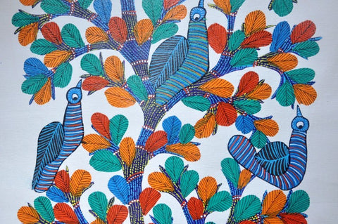 Mahua Tree Gond painting by Choti Tekam, Gond Artist, Image Credit: supernative.in