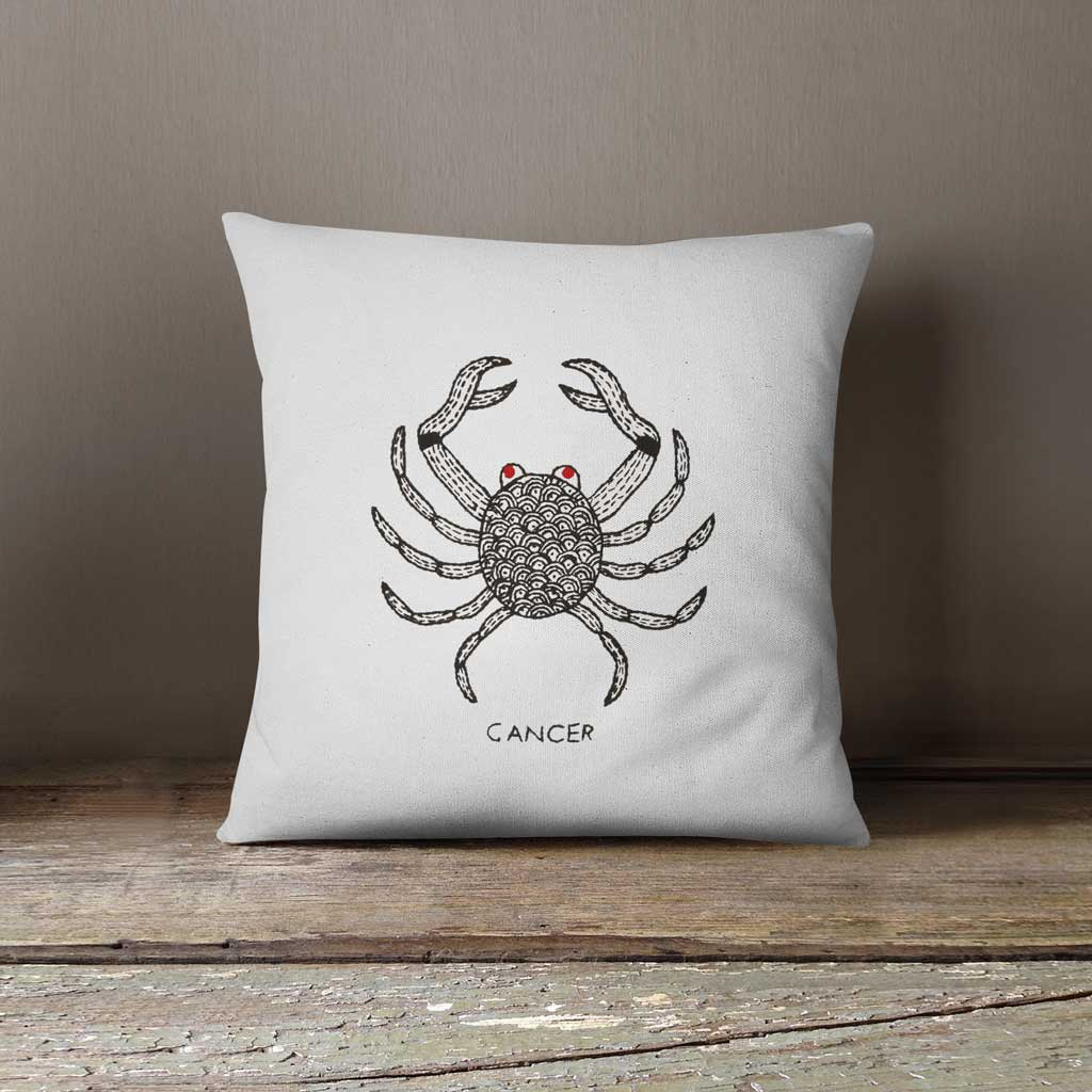 Cancer Zodiac Hand Embroidered 100% Cotton Cushion cover
