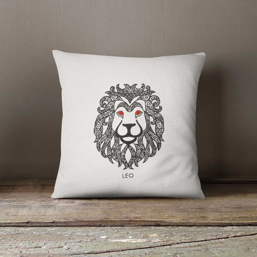 Leo Zodiac Hand Embroidered 100% Cotton Cushion cover