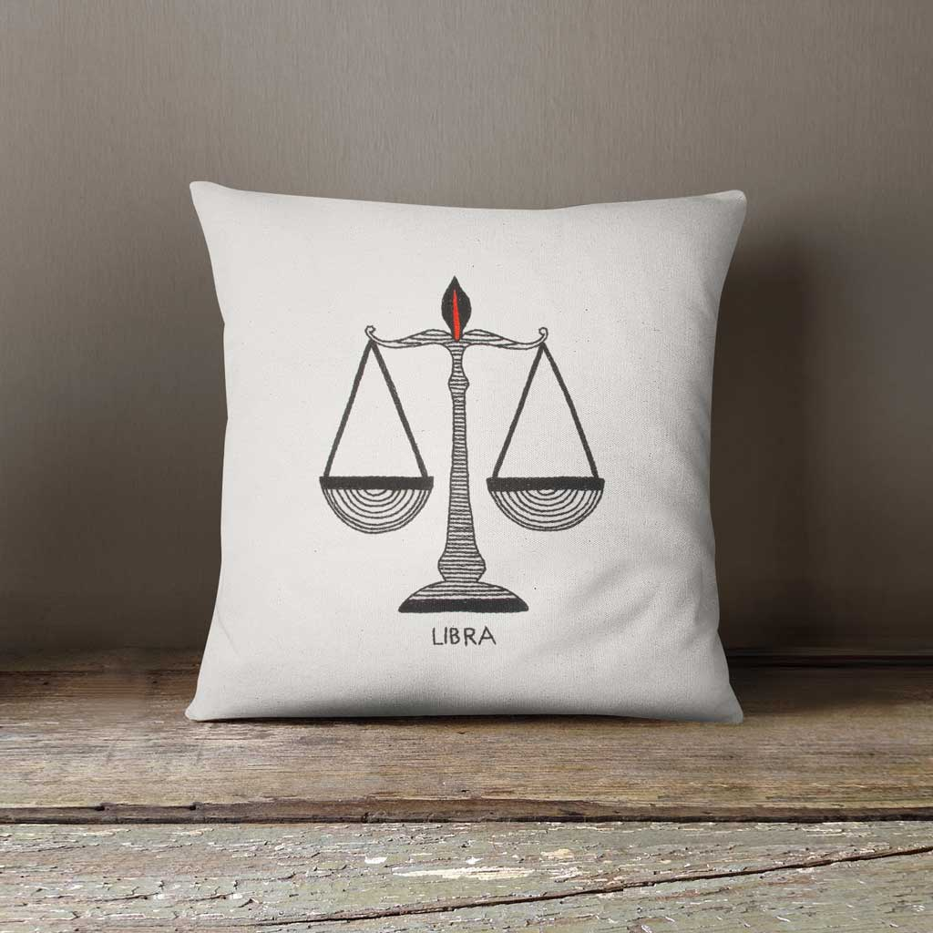 Libra Zodiac Hand Embroidered 100% Cotton Cushion cover