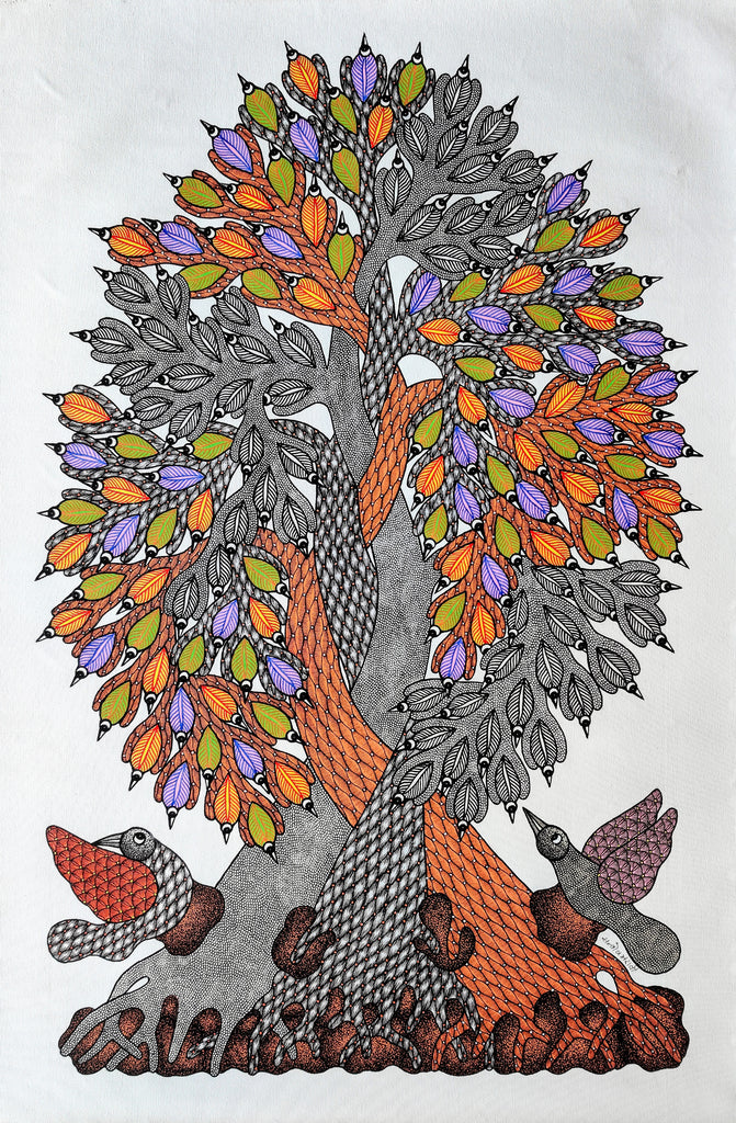 Living Together - Original Gond Painting by Santosh Maravi