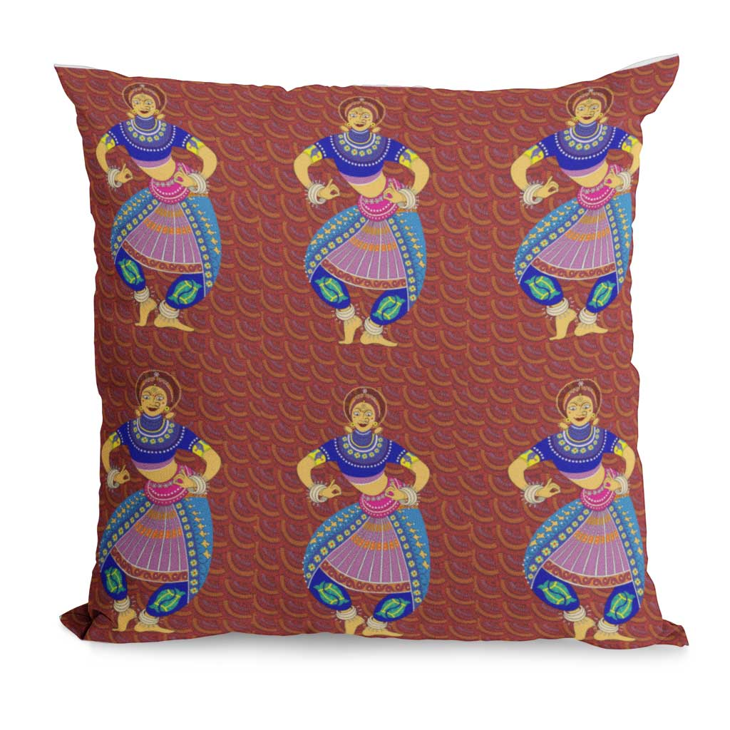 Rust, Odissi Dancer motif, Gond Art Inspired cushion cover