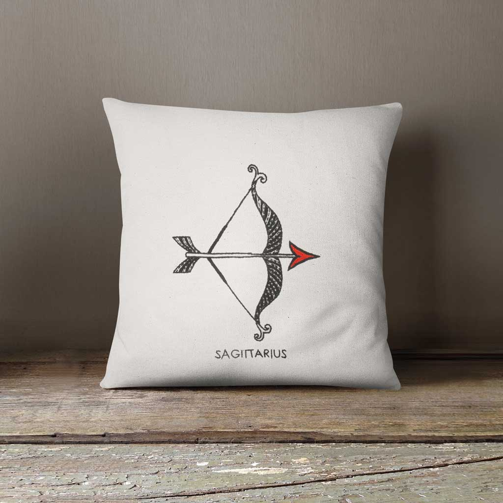 Sagittarius Zodiac Hand Embroidered 100% Cotton Cushion cover