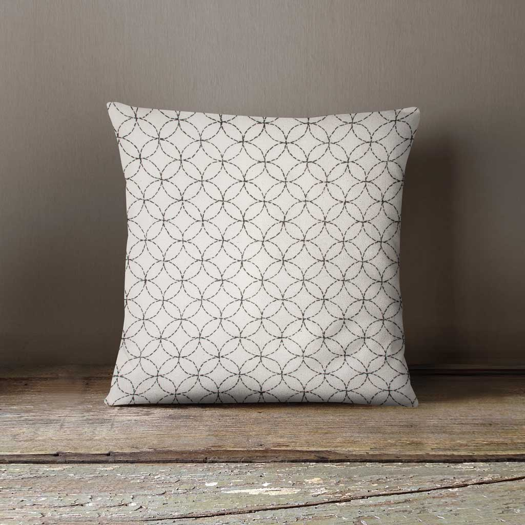 Sashiko circles white cushion