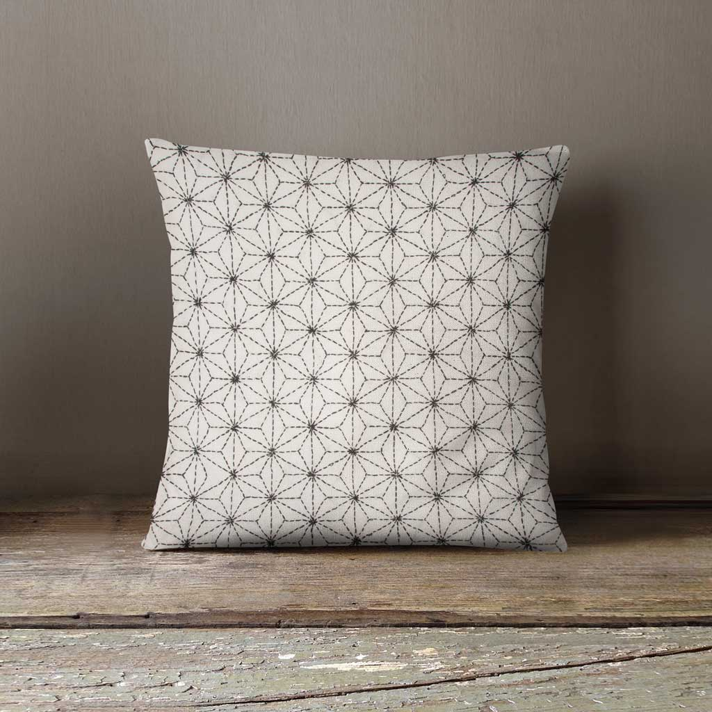 Sashiko flowers hand embroidered 100% cotton cushion