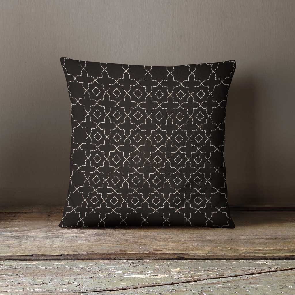 Sashiko black geometric embroidered cotton cushion cover