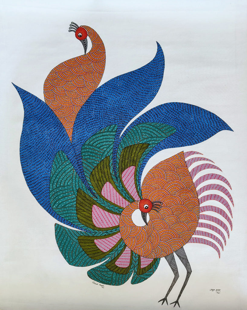 Skirmish - Original Gond Painting by Rahul Singh Shyam - as seen in worldofinteriors