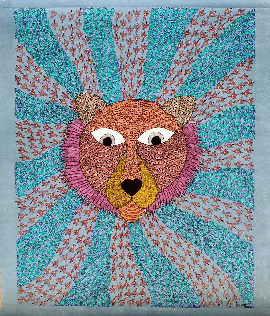 The King - Original Gond Painting by Rahul Singh Shyam