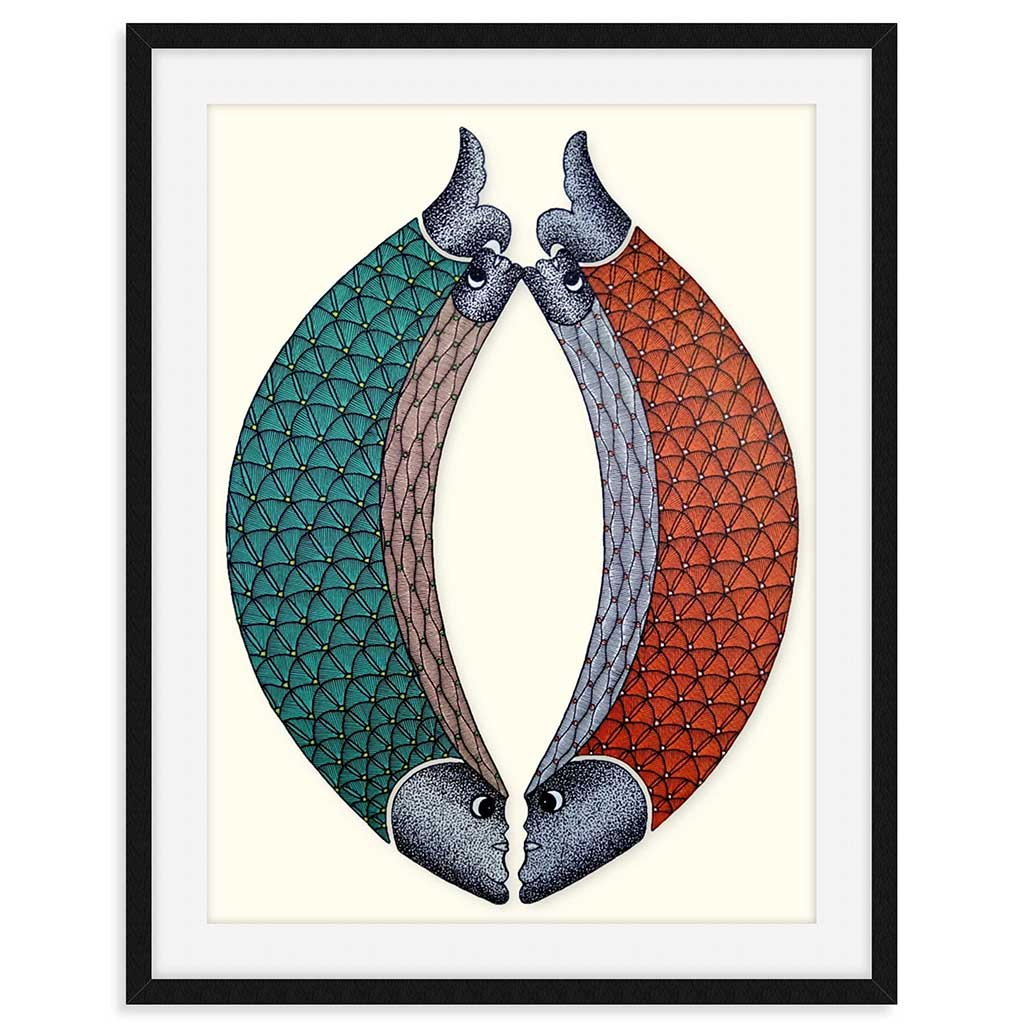 Original Painting of two fish in green and red scales