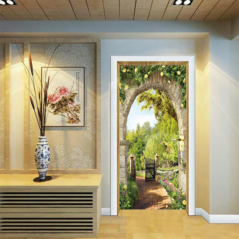 Wall Stickers Living Rooms 3d Doors Italian Arch Flowers Wall