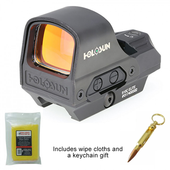 Holosun 510CGR - Open Reflex Sight with Green Dot and Solar Panel + Bullet Keychain and Wipe Cloths
