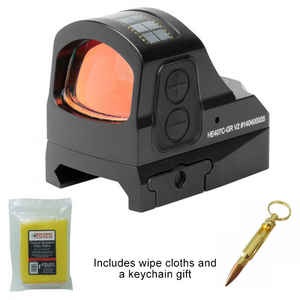 Holosun 407CGR V2 - Open Reflex Sight - Green Dot/Solar Panel + Bullet Keychain and Wipe Cloths