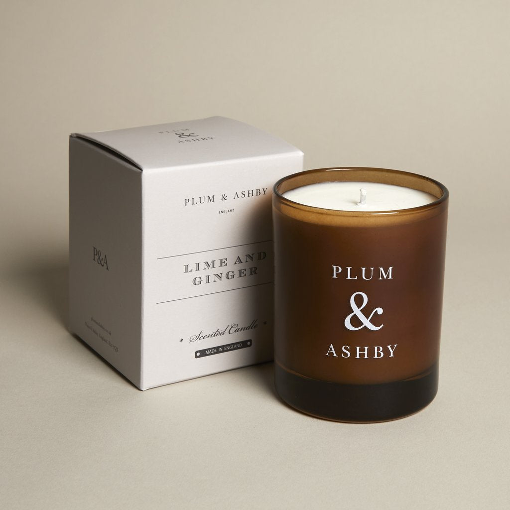 Lime & Ginger Brown Glass Candle