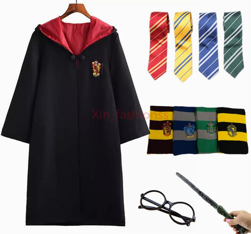 Harry Potter Robe Cloak Cosplay Costume with Tie Scarf Wand Glasses for Kids Adult
