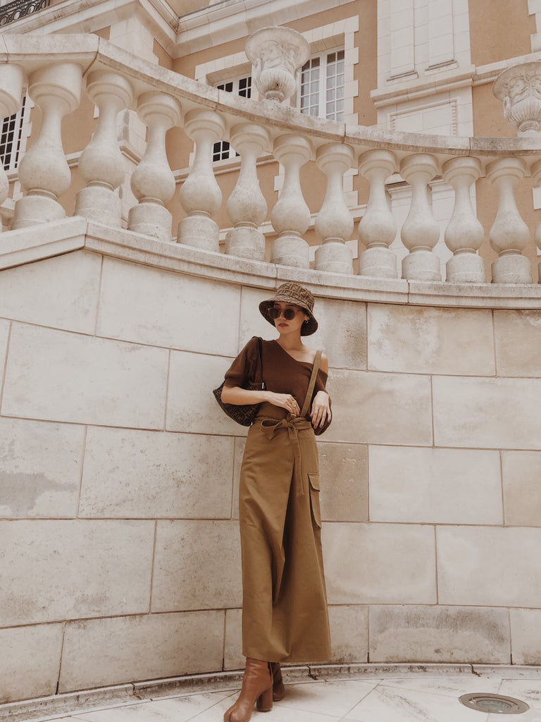One shoulder wrap skirt