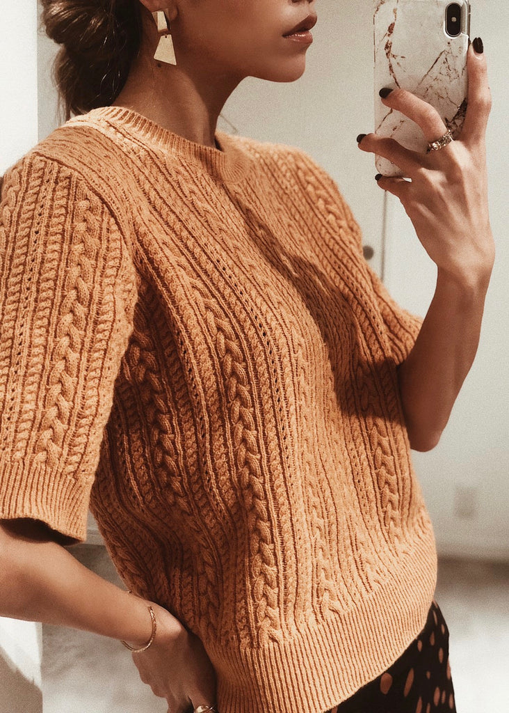 Short sleeve cable knit [SH-190]