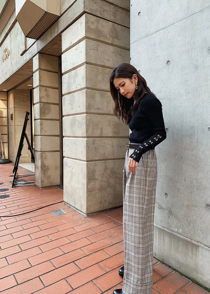 High waist check pants [SH-211]