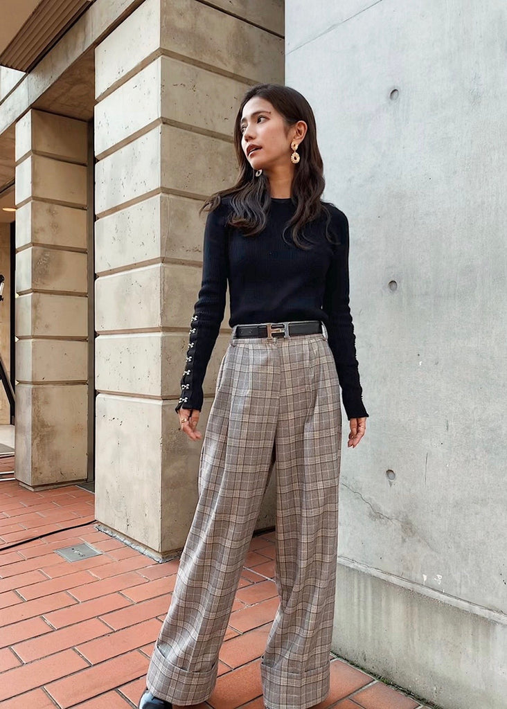 High waist check pants