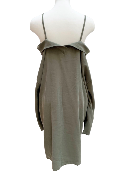 Off shoulder khaki one-piece