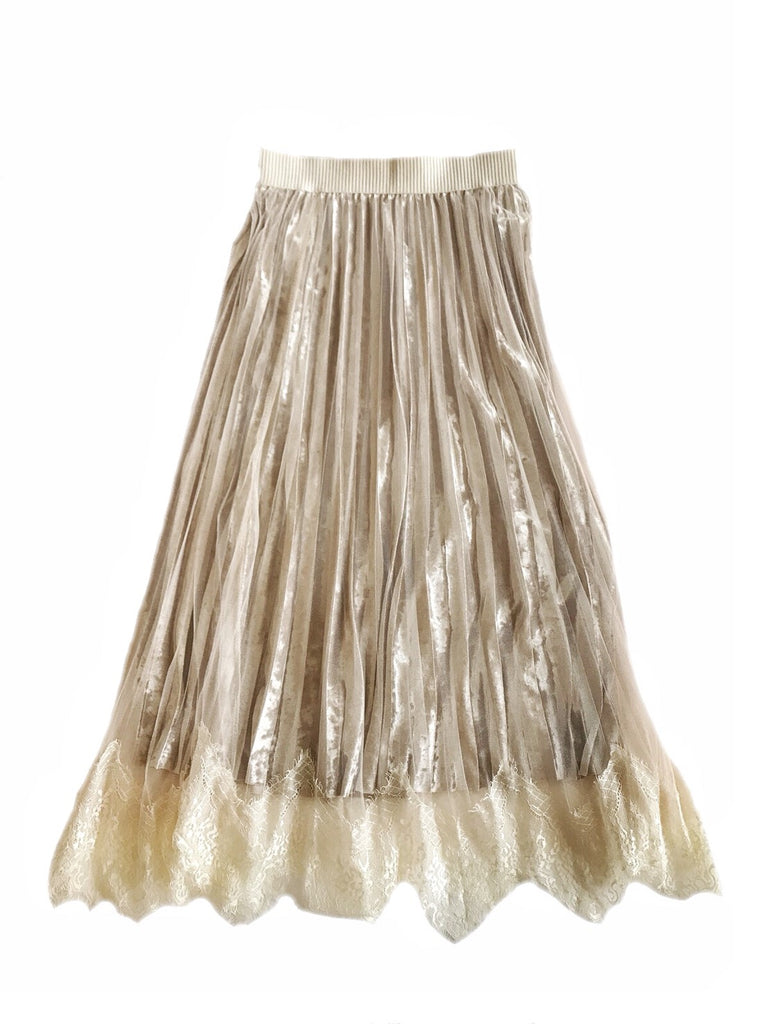 Pleated velor skirt