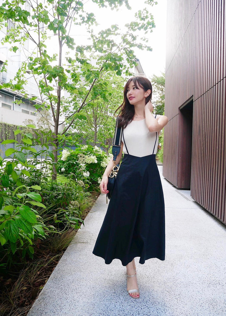 Shirring shoulder skirt