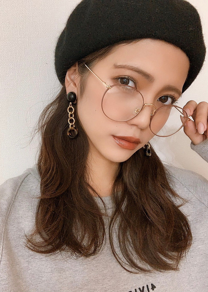Thin frame brown glasses [SH-181]