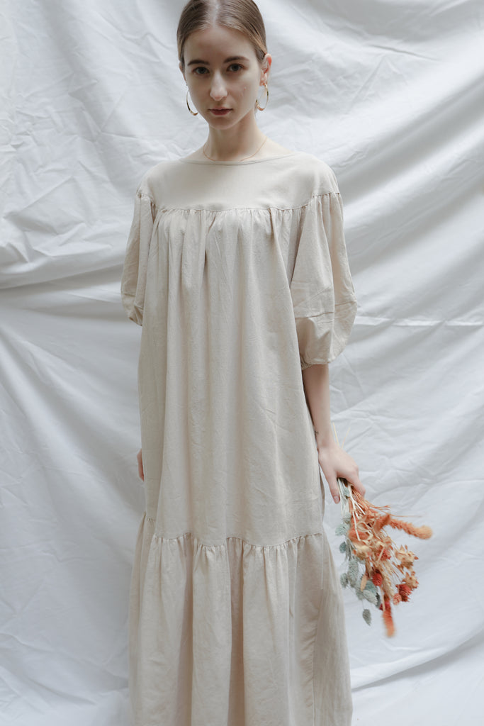 linen volume sleeve one-piece