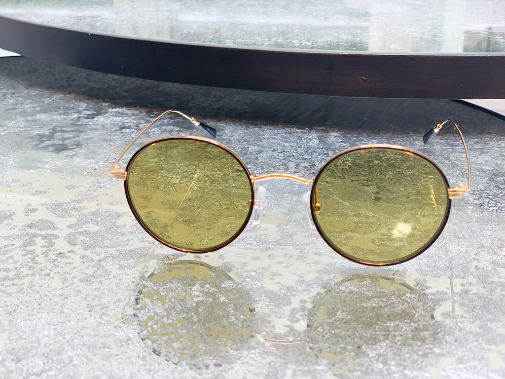 Green glass round sunglasses [SH-153]