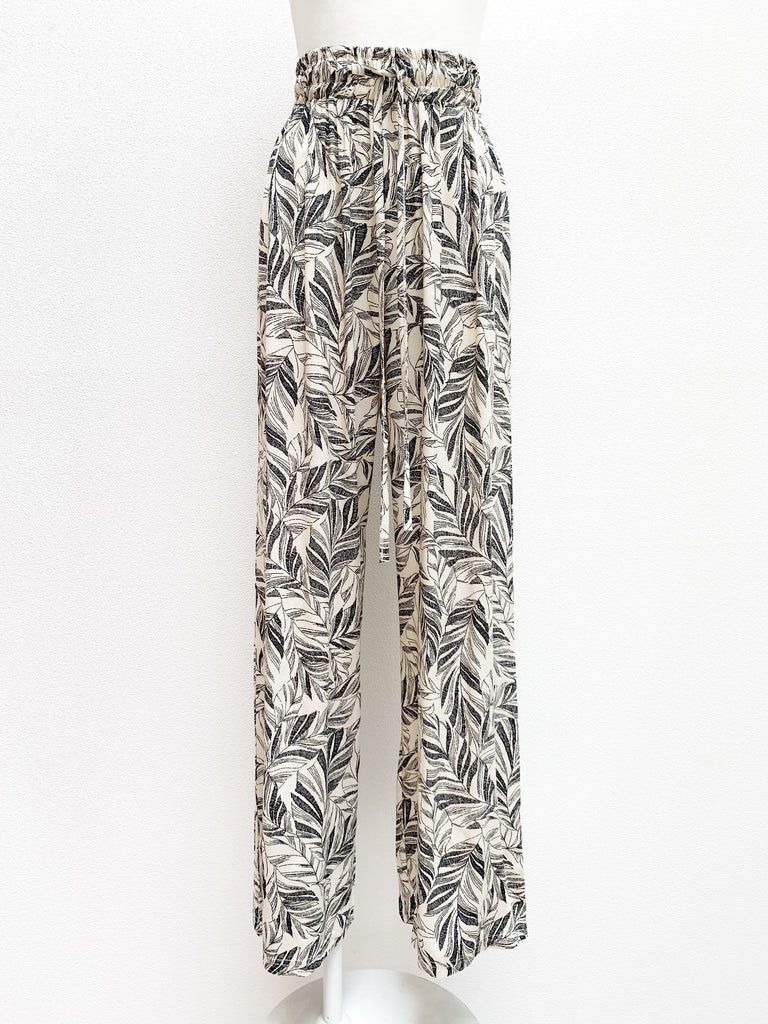 Botanical print wide pants [SH-160]