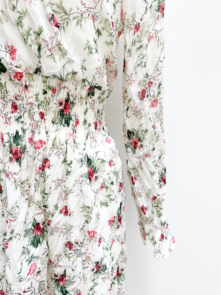 Flower print crinkle one-piece