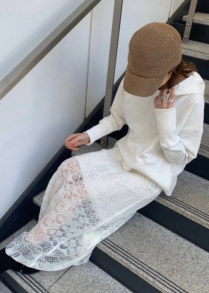 crochet lace long skirt