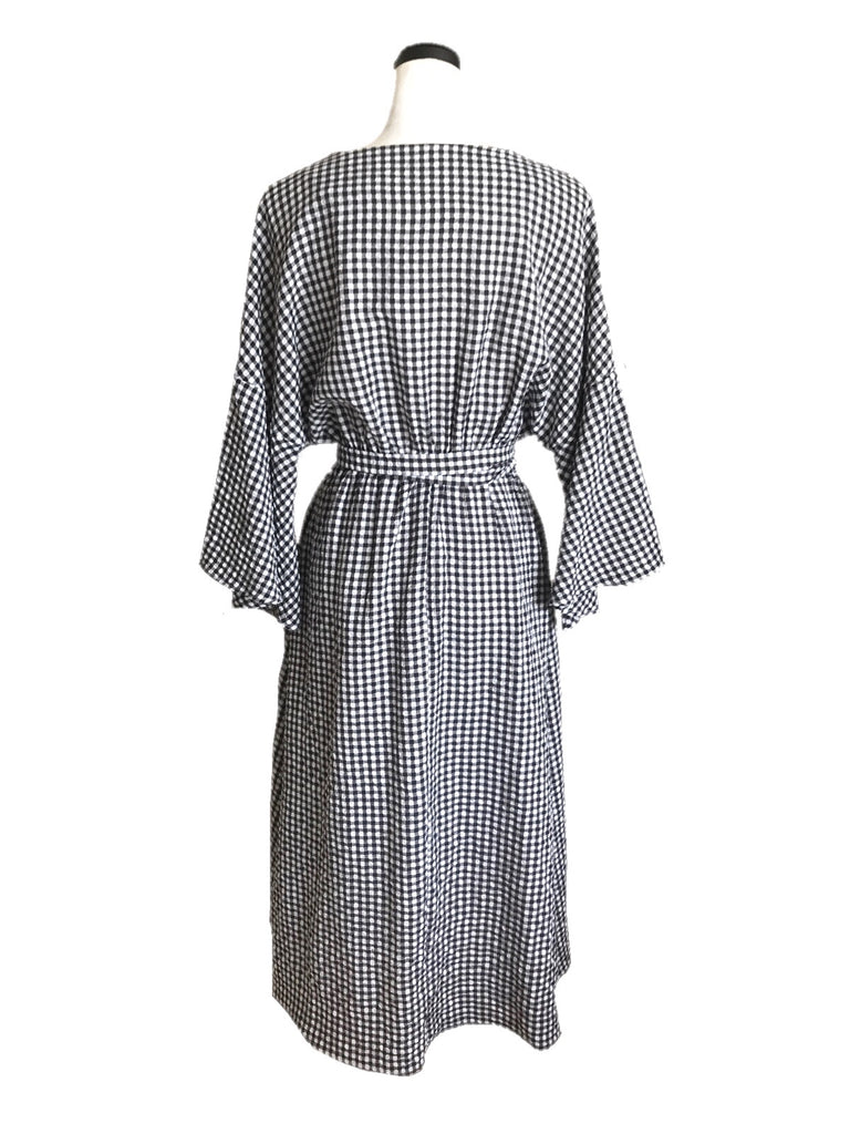 Gingham check long one-piece