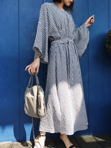 gingham check long one-piece[SH-96]