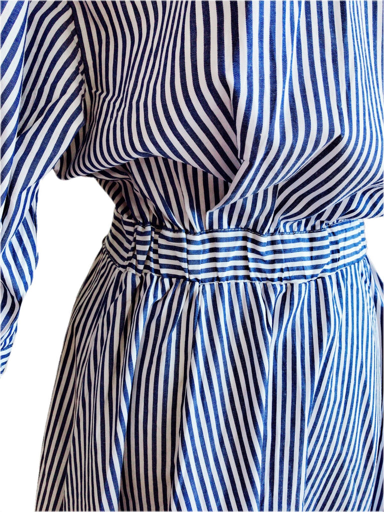 Stripe shirt one-piece