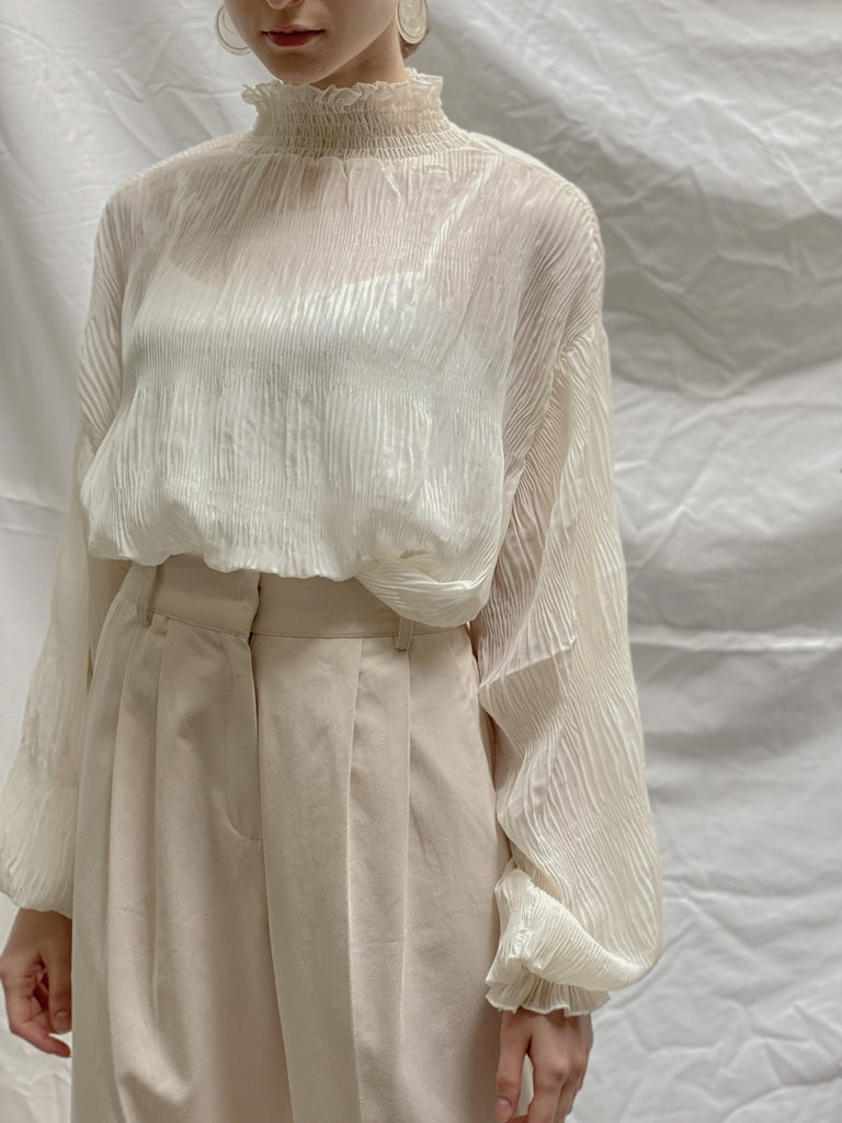 Stand collar sheer blouse