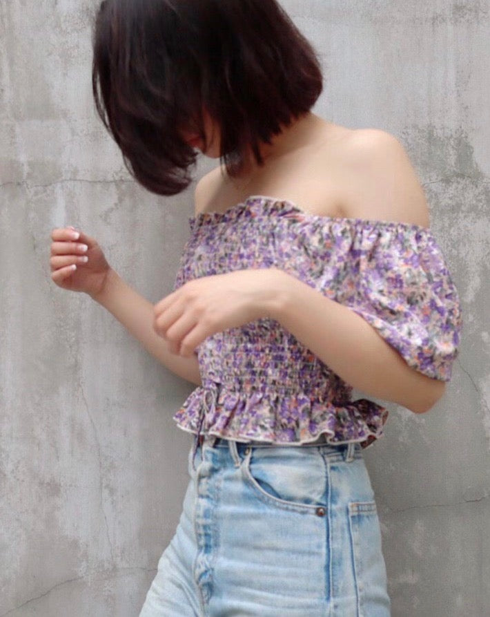 off shoulder flower tops