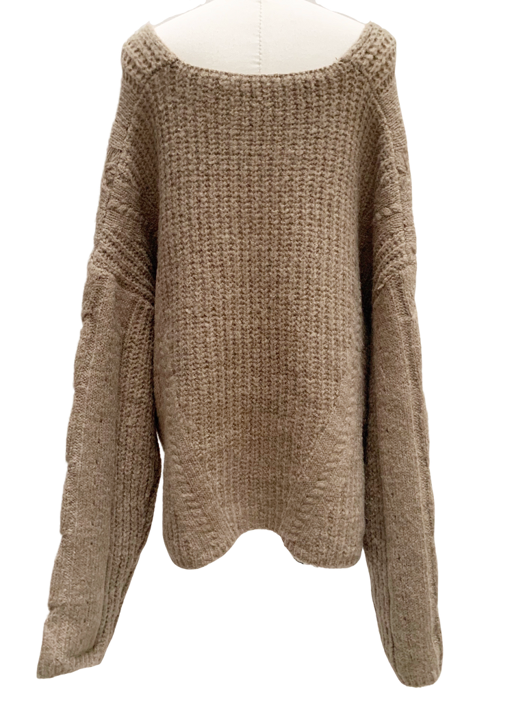 V-neck over cable knit [SH-217]