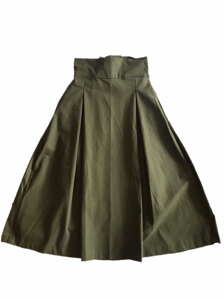 back ribbon flare skirt