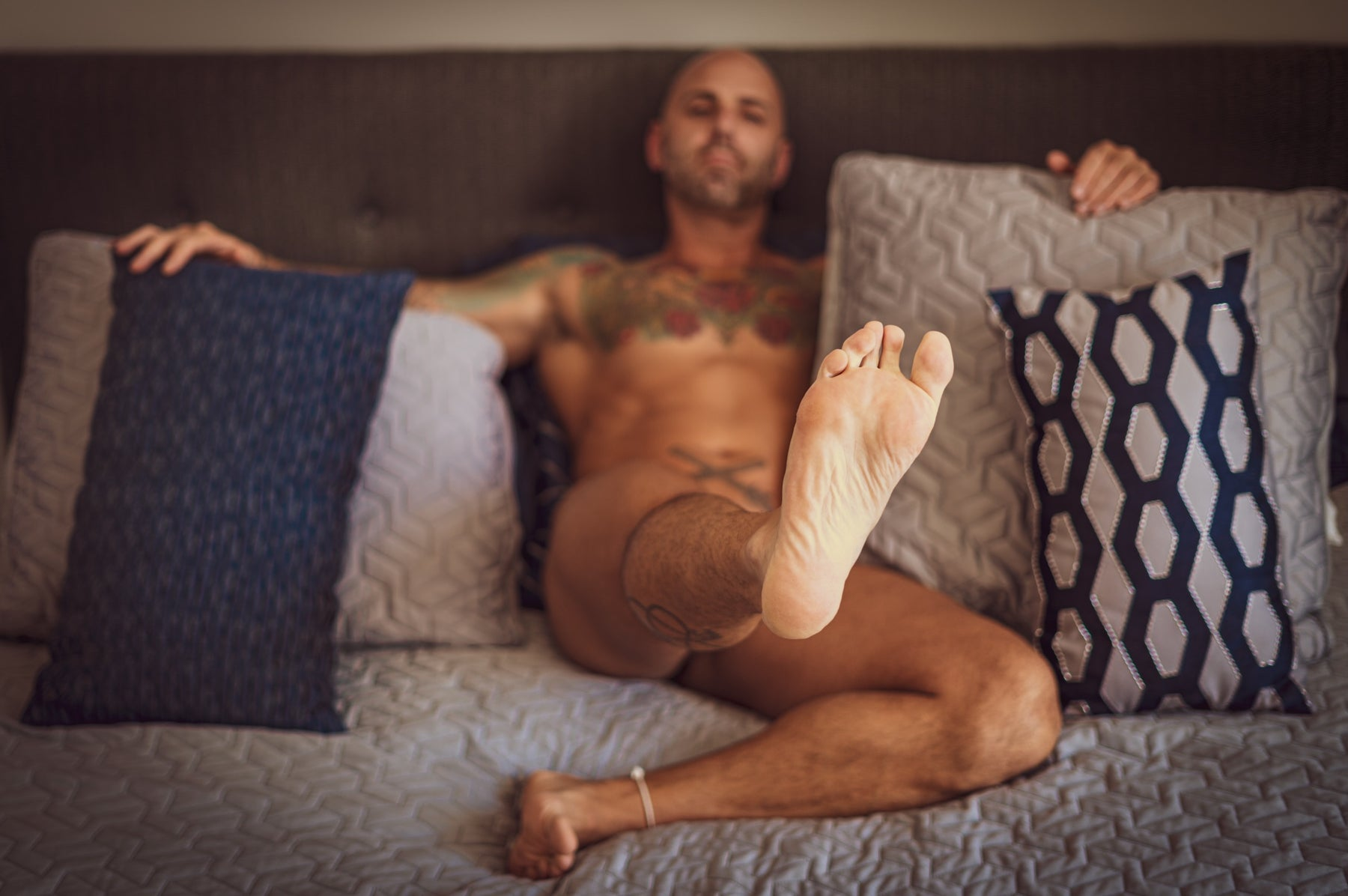 bald feet bdsm kinky tattooed inked muscled